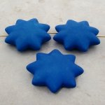 BLUE MATTE 42MM STAR 10MM THICK BEADS - Lot of 12