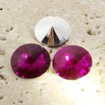 Fuchsia - 18mm. Round Rivoli Rhinestone Jewels - Lots of 144