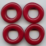 CRANBERRY 28MM DONUT UNIQUE BEADS - Lot of 12